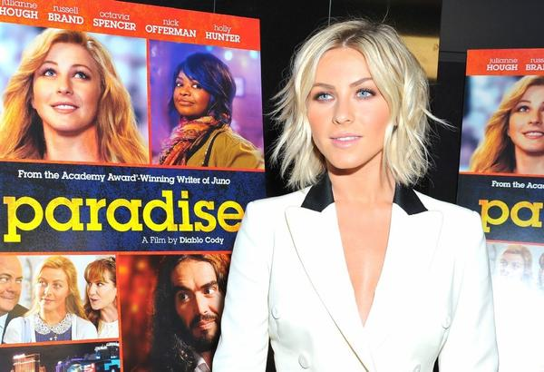 "Julianne Hough arrives at the premiere of ""Paradise"" in Hollywood."