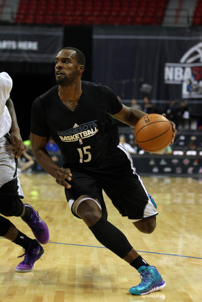 Minnesota Timberwolves forward Shabazz Muhammad drives during an NBA Summer League game against the Phoenix Suns in Las Vegas.