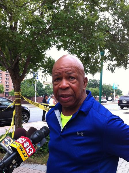 Rep. Elijah Cummings addresses the media regarding a suspicious substance found outside his Baltimore office.