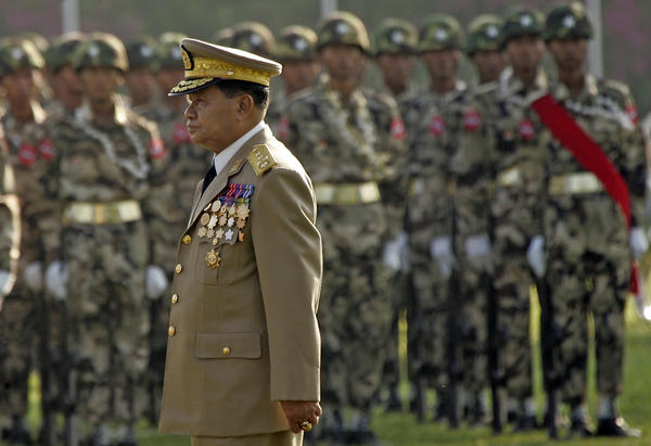 Myanmar's Senior Gen. Than Shwe, leader of the government, reviews military units during the 60th anniversary ceremonies in March 2005 in Yangon.