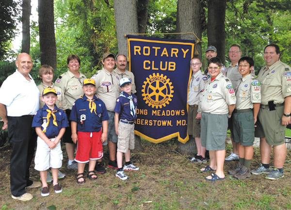 Area Scouts and Rotarians helped rededicate Rotary Club of Long Meadows Park on Northern Avenue in Hagerstown on July 1. Front row, from left, Chris Vecchio, Timothy Forrest, Jake Milburn, Thomas Forrest, Tim Mason and Mark Forrest. Back row, Long Meadows Rotary Club President Ron Bowers, Bryce Harris, Beth Forrest, Benjamin Forrest, Chuck Mason, Zach Klein, Bill Whaley and Dan Klein.