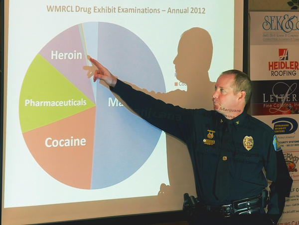 Hagerstown Police Chief Mark Holtzman talks about the increased use of synthetic drugs in the city at Eggs & Issues Wednesday morning at the Ramada Plaza Hotel in Halfway.