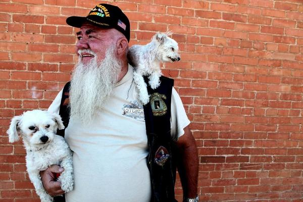 A man and his dogs in Sturgis, S.D.