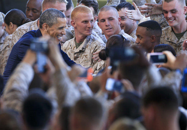 President Obama greets Marines on Wednesday at Camp Pendleton.