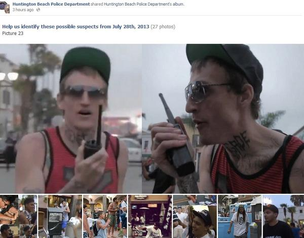 A screenshot from the Huntington Beach Police Department's Facebook page. The department posted photos Wednesday of possible suspects police are still seeking from the downtown Huntington Beach riot.