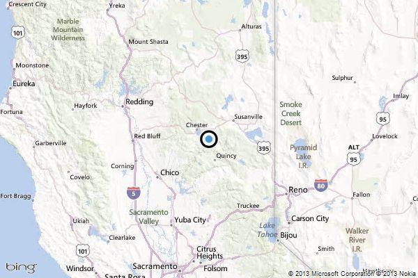 A map showing the location of the epicenter of Wednesday morning's quake near Greenville, California.