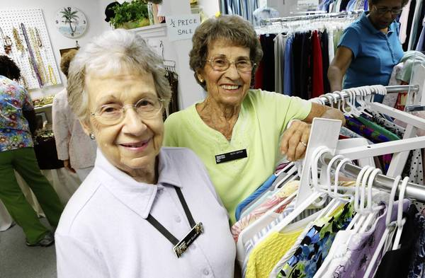 Lakeview Terrace residents Mary Ellen Beard, left, 81, and Ruth Ginter, 88, were honored as the community's Volunteers of the Year. The two women are co-managers of The Wearhouse Shoppe, a resale shop located at Lakeview Terrace.