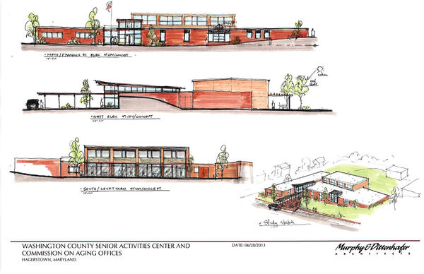 The Baltimore-based architecture firm Murphy & Dittenhafer provided these concept drawings for a new Washington County senior activities center.