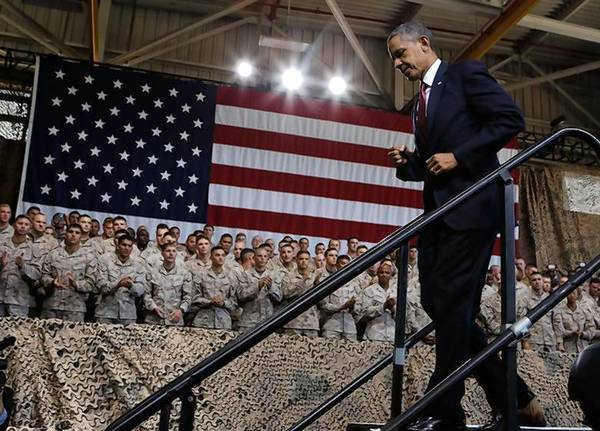 President Obama walks out after speaking at Marine Corps Base-Camp Pendleton in California.