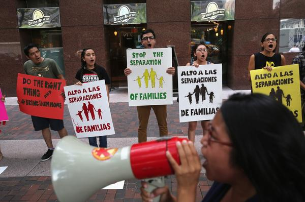 "Demonstrators call for the release of ""Dream 9"" activists detained in Nogales, Ariz."