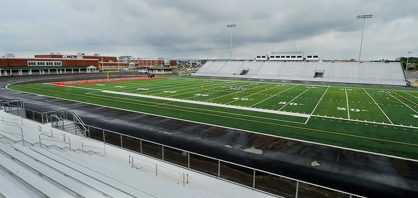 The football stadium at Spring Mills High School is shown Wednesday in Berkeley County, W.Va.