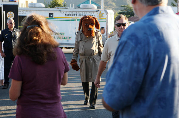 McGruff the Crime Dog strolls among the guests during the 30th National Night Out, where the communities of La Crescenta, Montrose and La Canada Flintridge participate in the event at the parking lots of Ralph's Fresh Air Market in La Crescenta on Tuesday, August 6, 2013.