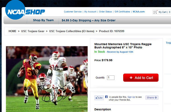 A look at the ShopNCAASports.com page featuring the Reggie Bush autographed picture.