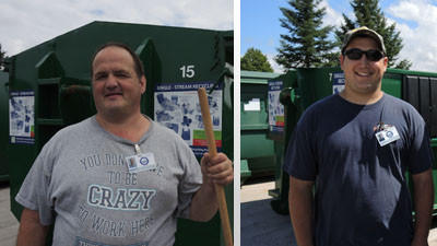 Charlevoix County recently hired two new employees. Bobby Lewis of Charlevoix (left) will care for the recycling bins at the Charlevoix station while Eric Calo of Boyne City will man the Boyne City stations.