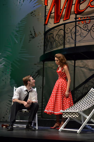From left, Grayson Owen as Benedick and Chandish Nester as Beatrice in Annapolis Shakespeare Companys production of Much Ado About Nothing, continuing weekends through Aug. 18 at Bowie Playhouse in White Marsh Park.