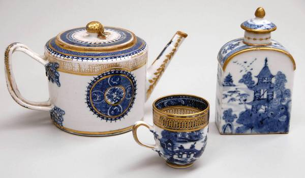 In the 18th century, porcelain tea sets such as this one were made in China specifically to be exported to Europeans.