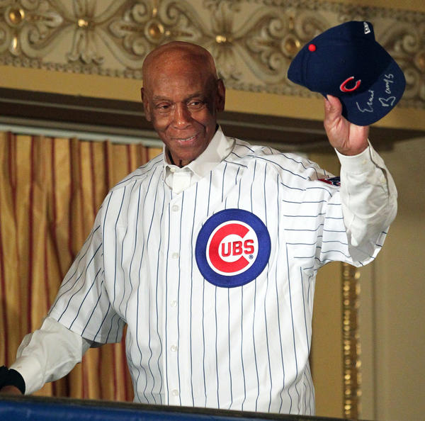 Ernie Banks is introduced at the Chicago Cubs Convention at the Hilton Chicago in January of 2012.