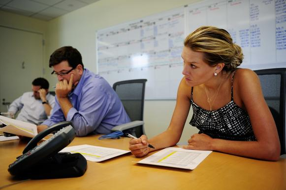 Fox Sports Live host Charissa Thompson is attentive during a production meeting before Fox Sports 1 rehearsals at the Fox Studios on Aug. 6, 2013, in Los Angeles. On Aug. 17, Fox Sports will launch two national sports channels that are expected to compete with ESPN.