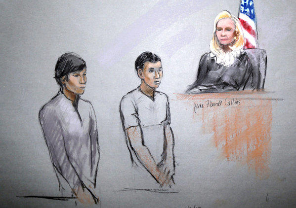 This courtroom sketch signed by artist Jane Flavell Collins shows defendants Dias Kadyrbayev, left, and Azamat Tazhayakov appearing in front of Federal Magistrate Marianne Bowler at the Moakley Federal Courthouse in Boston in May.