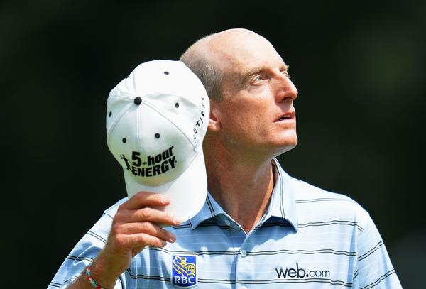Jim Furyk looks on from the ninth green after his five-under par 65 during the first round of the 95th PGA Championship.