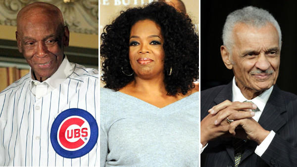 "President Barack Obama will award the Presidential Medal of Freedom to Chicago Cubs legend Ernie Banks, left, media magnate Oprah Winfrey, center, and civil rights leader Cordy Tindell ""C.T."" Vivian later this year. (Chicago Tribune, Getty Images)"