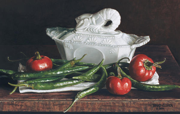 Painter Brad Clever of Chambersburg, Pa., won Best of Show at the 81st annual Cumberland Valley Artists Exhibition for his oil on wood panel painting, Milk Glass and Peppers. His painting will be on on view Saturday, Aug. 17, through Saturday, Nov. 3, at the Washington County Museum of Fine Arts.