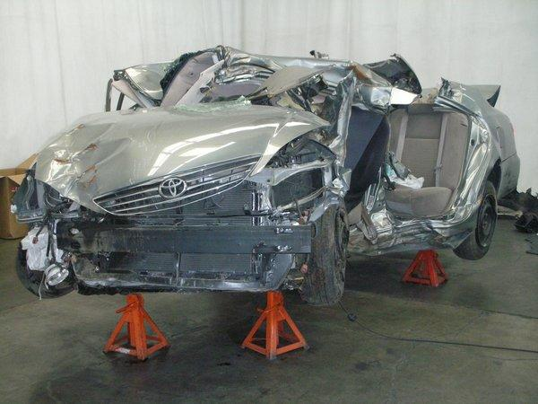 Noriko Uno was killed when her 2006 Camry crashed into a light pole at a high speed in Upland on Aug. 28, 2009. This photo shows her car after the collision.