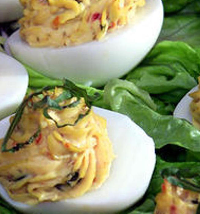 Sun-dried-tomato-stuffed eggs