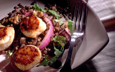 Warm lentil salad with seared scallops