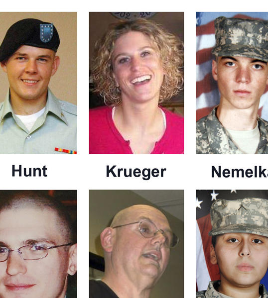 Among those killed in the Ft. Hood shooting rampage were, from top left, Spc. Jason Dean Hunt, Sgt. Amy Krueger, Pfc. Aaron Thomas Nemelka, Pfc. Michael Pearson, Capt. Russell Seager, and Pvt. Francheska Velez. On Thursday a witness said she found Nemelka's corpse, described Krueger's last moments and told of hearing Velez, who was pregnant, plead for the life of her baby.