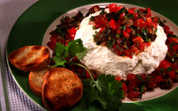 Yogurt cheese with salsa
