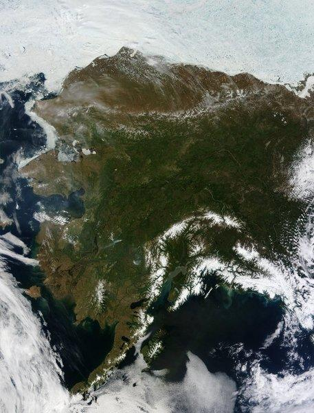 An aerial image of Alaska shows dense vegetation, some of it being consumed by wildfire. Carbon uptake and release have fluctuated more sharply in northern forests such as those in Alaska, a study found.