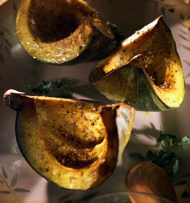 Roasted squash with zucchini tzatziki