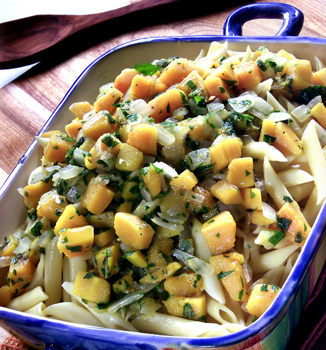 Penne with butternut squash, onions, sage and Parmesan