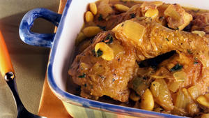 Chicken casserole with dates and almonds