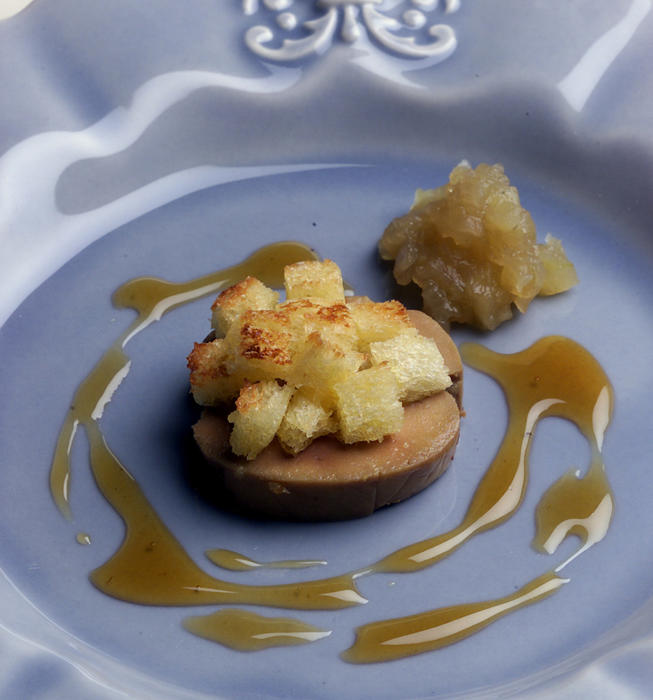 """Confit"" of Moulard Duck Foie Gras With a Compote of  Granny Smith Apples and Black Pepper Gastrique"