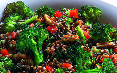 Wild rice and broccoli salad