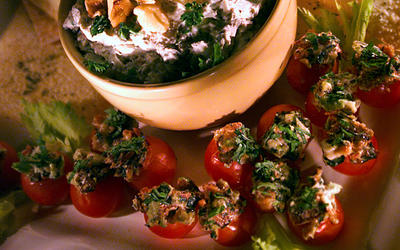 Gorgonzola and goat cheese spread with chives, parsley and toasted walnuts