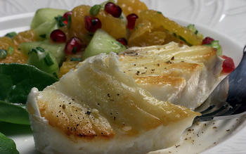 Halibut with cucumber and orange salsa