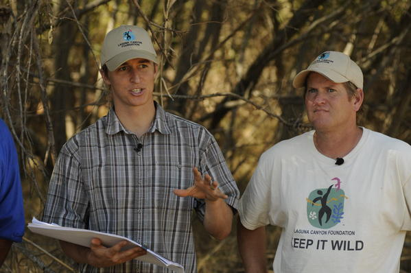 Derek Ostensen, left, and Max Borella discuss Laguna Coast Wilderness land.