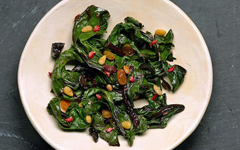 Beet greens with golden raisins and pine nuts (Cime di rape con uve sultanine e pignoli)