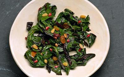 Beet greens with golden raisins and pine nuts (Cime di rape con uve sultanine e pignoli)