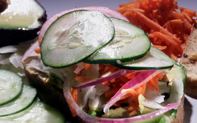 Fresh veggie and tomato bread sandwich