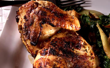 Mustard Grilled Chicken With Fennel, Roasted Shallots and Mustard Greens