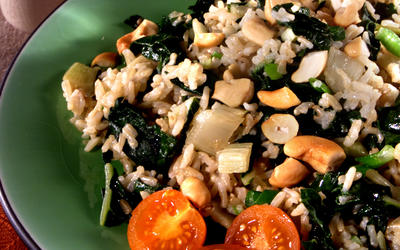 Steamed Brown Rice With Chard