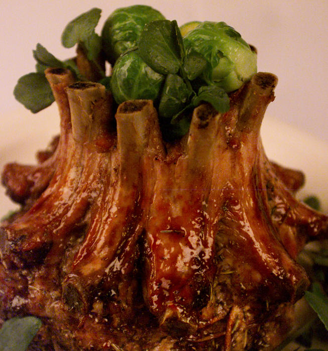 Port wine-glazed crown roast of pork