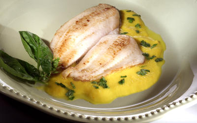 Petrale Sole With Golden Tomato and Pepper Coulis