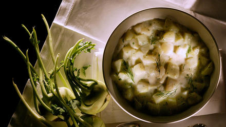 Dill and Tarragon Creamed Kohlrabi