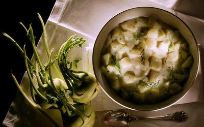 Dill and Tarragon Creamed Kohlrabi