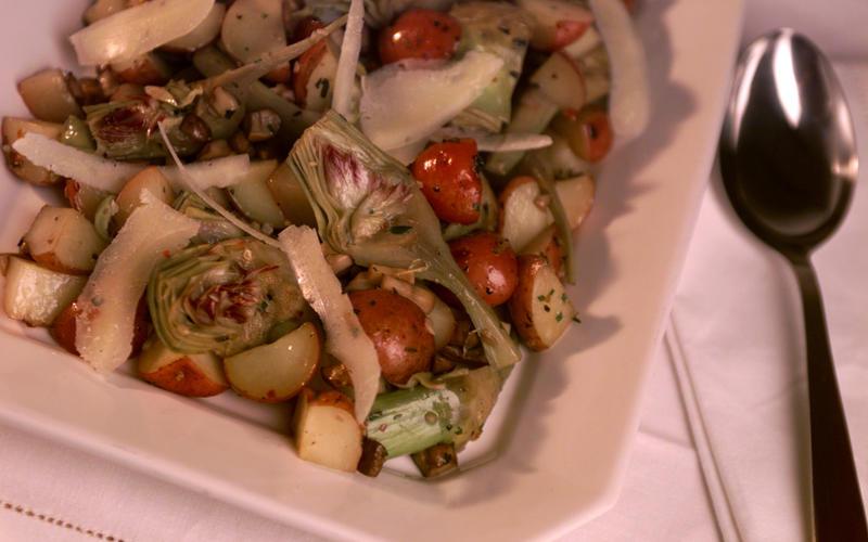 Artichoke stew with pecorino Romano